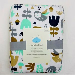 Cloud Island Crib Sheet Woodland Print Fitted New